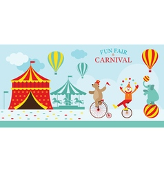 Circus Tent with Clown Show vector image