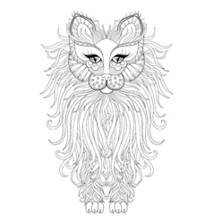 Fluffy Cat zentangle vector image vector image