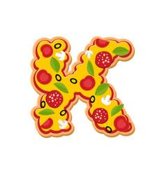letter k pizza font italian meal alphabet vector image