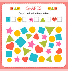 count and write the number learn shapes and vector image