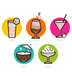 Retro drink Icons vector image