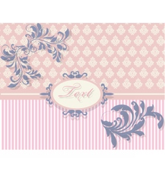 Vintage card with floral damask ornament vector