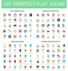 120 modern flat icon set of workplace creative vector