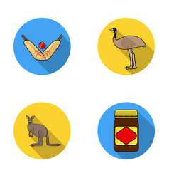 A game of cricket an emu ostrich a kangaroo a vector