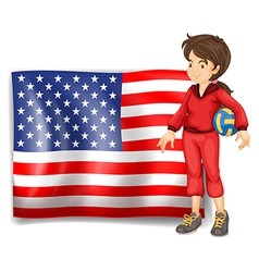 A sporty girl and the flag of the USA vector image