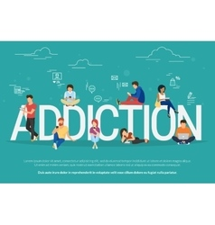 Addiction concept young people vector