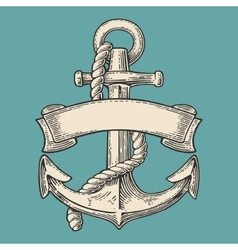 Anchor with ribbon and rope isolated on blue vector image