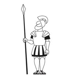 Ancient warrior pikeman BW vector image