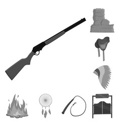 Attributes of the wild west monochrome icons in vector