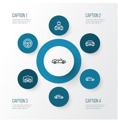 Automobile outline icons set collection of sedan vector