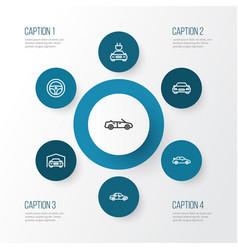 Automobile outline icons set collection sedan vector