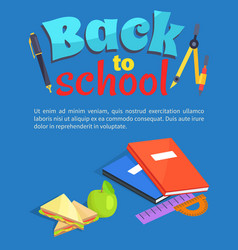 Back to school poster text stationery equipment vector