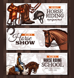 banners with horses equestrian sport vector image