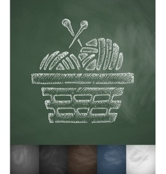 Basket with yarn icon hand drawn vector
