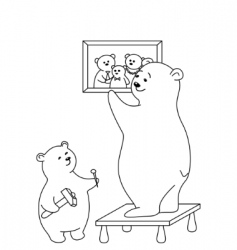 Bears attach a picture contours vector