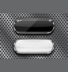 Black and white buttons on perforated background vector