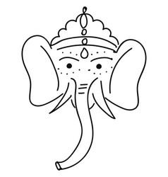 black ganesha elephant drawing on white background vector image