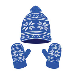 blue knitted winter hat and gloves vector image