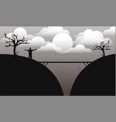 Bridge sillhouette landscape vector