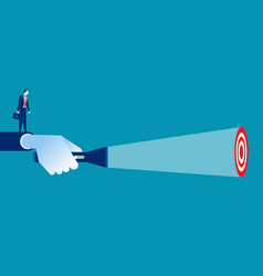 business leader pointing flashlight to target vector image