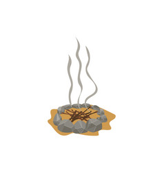 campfire place and fireplace stones branches vector image