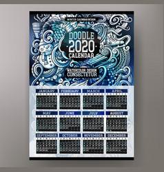 cartoon doodles winter 2020 year calendar template vector image