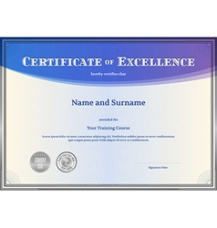 Certificate of Excellence template blue vector