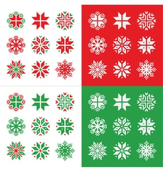 Christmas winter red and green snowflakes vector