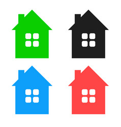 colorful house icons in eps 10 - simple and vector image