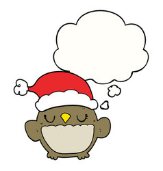 Cute christmas owl and thought bubble vector