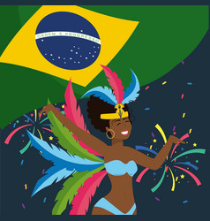 cute girl dancer with feathers and brazil flag vector image