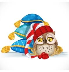 Cute owlet in a cap sits near a pile of pillows vector