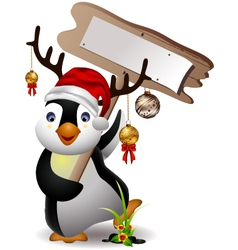 cute penguin christmas cartoon with blank board vector image