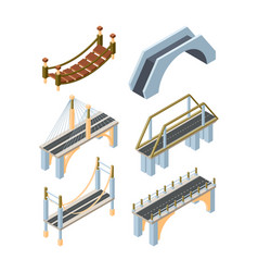 different types bridges isometric 3d vector image