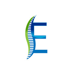 e letter chiropractic vector image
