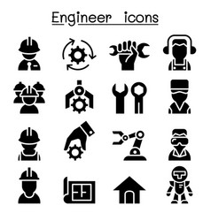 engineer icon set vector image