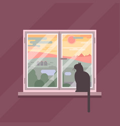 evening window view with cat silhouette vector image