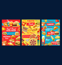 fast food pizza burger hot dog fries coffee vector image