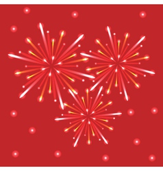 fireworks in the red sky vector image