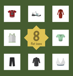 Flat clothes set of clothes brasserie sneakers vector