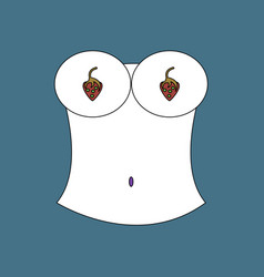 Flat icon design collection boobs and strawberry vector
