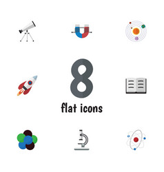 Flat icon knowledge set of lecture scope orbit vector