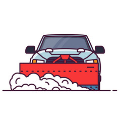 Front view of snowplowing car vector