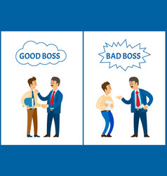 Good and bad boss chief executive at work set vector