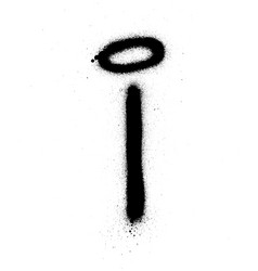 Graffiti thin i font sprayed in black over white vector