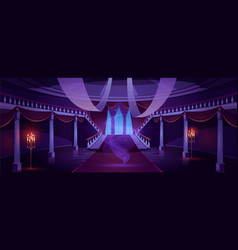 Hall interior with ghost in medieval castle vector