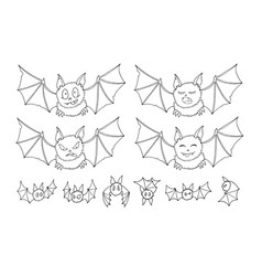 halloween bats doodle set isolated on white vector image
