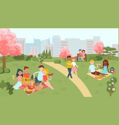 hanami sakura festival people on picnic in vector image