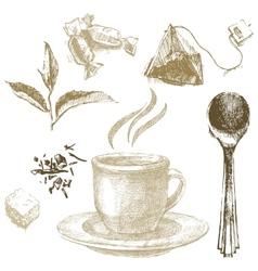 hand drawn tea set vector image