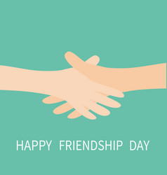 happy friendship day handshake icon two hands vector image